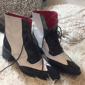 Limited vintage Bronx white/red leather boots